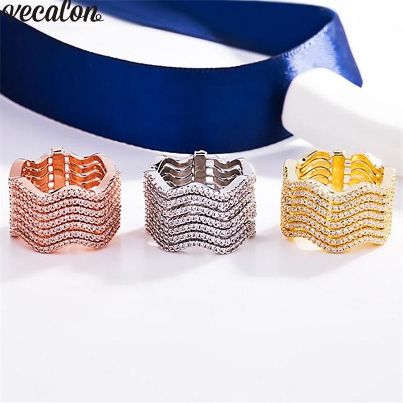 Vecalon 3 couleurs bague de luxe en or blanc Rose rempli de 7 rangées 5A Zircon Cz anneaux de mariage pour femmes hommes bijoux