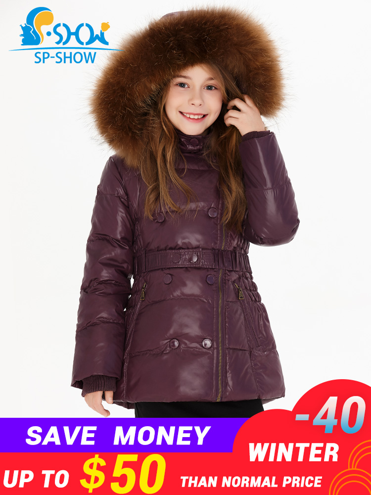 SP SHOW Luxury Brand Children Winter Coat Girls Raccoon Fur Hat Thick Fleece Hooded Jacket Down & Parkas For 6-12 Age Kids1620SP SHOW Luxury Brand Children Winter Coat Girls Raccoon Fur Hat Thick Fleece Hooded Jacket Down & Parkas For 6-12 Age Kids1620
