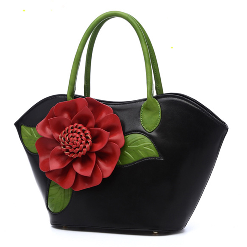 Luxury Handbags Women Bags Designer 2017 Fashion Flower Big Tote Bag High Quality Leather Vintage Ladies Hand Bags Famous Brands
