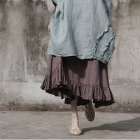 Johnature Women Elastic Waist Skirts Cotton Linen Pockets Vintage 2018 Spring New Casual Women Solid Color A Line Ruffle Skirts