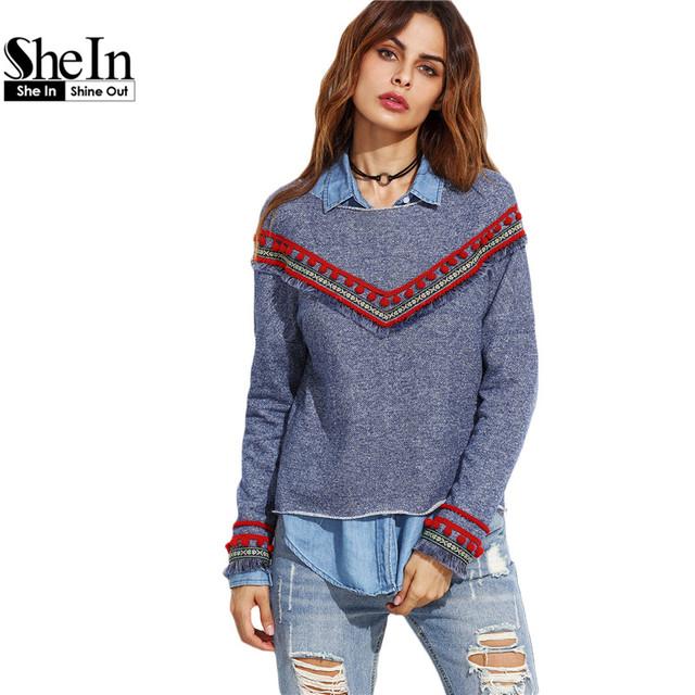 SheIn Pullovers Vintage Para Senhoras Outono Azul Em Torno Do Pescoço Manga Comprida Denim Olhar Moletom Bordado Com Fita Detalhe