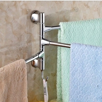 Newly US Free Shipping Swivel Chrome Brass Bathroom Towel Rack Holder Swivel 3 Towel Bars W/ Hanger
