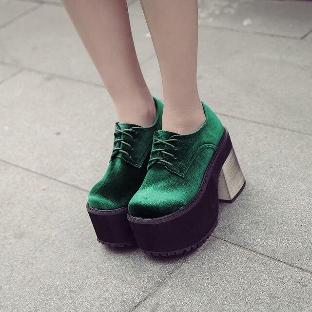 4d69bbdda Новинка 2018 года, модные бархатные туфли высокого качества в стиле  панк-рок на платформе