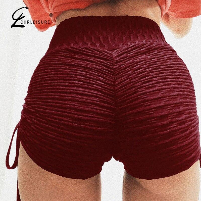 CHRLEISURE Лето Шорты с высокой талией пикантные Push Up тренировки шорты Для женщин Сплошной Шорты со шнуровкой Mujer Femme 3 вида цветов