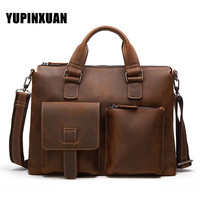 YUPINXUAN Europe Vintage Cow Leather Handbags Men Luxury Crazy Horse Leather Briefcases Retro 14 Real Leather