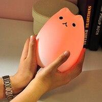 Xsky Novelty Lights Premium 7 Colors Cat LED USB Children Animal Night Light Silicone Cartoon Baby