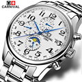 Carnival top marca de luxo 6 mão 24 horas data relógios mecânicos dos homens relógio multifuncional militar à prova d' água 30 m relógio de safira