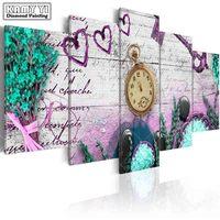 Full Square Drill Diamond Embroidery Home Flowers Clock 5D DIY Diamond Painting Cross Stitch Multi