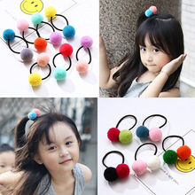 Cute Little Girls' Color Pompom Hair Ties Double Pom Pom Elastic Hair Band For Baby Hair Ropes Sweet Lovely Hair Accessories