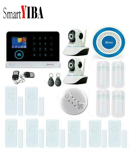 SmartYIBA Touch 3G Alarm Wireless IOS/Android APP Control GPRS SMS Alames With Network IP Cameras Wireless Smoke/Fire Alarm