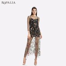 ROPALIA вышивка цветок повседневные платья лето из двух частей сетки длиной макси сексуальные платья Для женщин Vestidos
