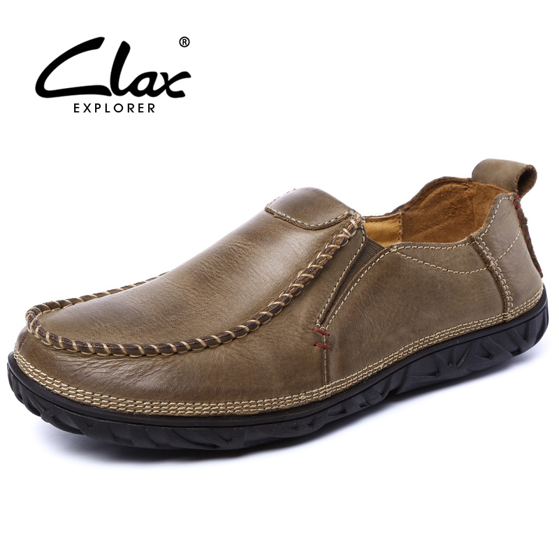 CLAX Men's Leather Casual Shoes Genuine Leather Loafers2017 Summer Autumn Designer Vintage Retro Shoes Slip on Walking Footwear clax men loafers shoes slip on 2017 summer autumn leather shoe for male casual footwear flat moccasin boat shoe breathable
