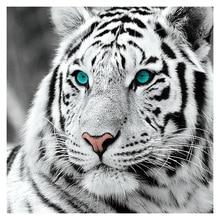 Diy 5D Diamond Painting White Tiger Round Diamond Mosaic Cross Stitch Animal Diamond Full Diamond Embroidery Home Paintings