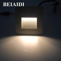 BEIAIDI 6pcs Lot 3W LED Recessed Stair Step Light Outdoor Floor Stair Deck Underground Spotlight Garden