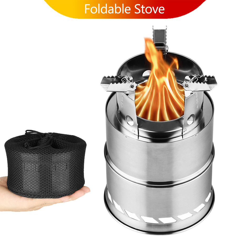 Camping Wood Stove Split Portable Gas Stainless Steel Gaz Firewood Fire Wind Screen Shield Fogao Kamp Ocak Outdoor Cooking Camp