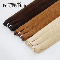 FOREVER HAIR 100g/pc Remy Human Hair Weft Dark Brown European Straight Hair Extension Strawberry Blonde Weaves Bundles 100g/pc