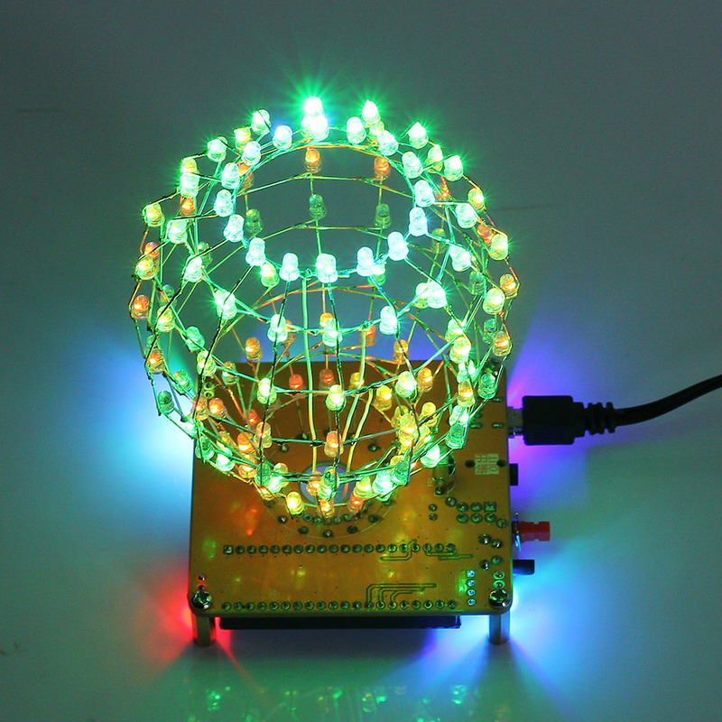 Dac Leory Diy Colored Ball Electronic Kit 3d Led Light Cube Kit 16x9 Led Music Spectrum Diy For Dac Mp3 For Diy Welding Enthusiast