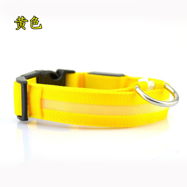 Nylon LED Pet dog Collar,Night Safety Flashing Glow In The Dark Dog Leash,Dogs Luminous Fluorescent Collars Pet Supplies 4