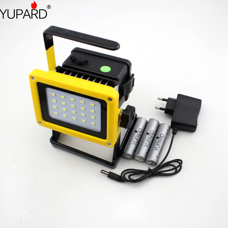 все цены на YUPARD flood light spotlight 20*SMD LED Searchlight camping outdoor flashlight +direct charger+3*18650 rechargeable battery онлайн