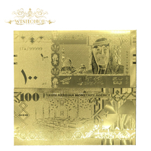 10Pcs/Lot Business Gifts For Saudi Arabia Banknotes 100 Riyals With 99.9% Gold Foil Golden Banknote Fake Paper Money