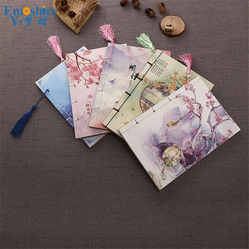 Emoshire Vintage Note Pad Retro Composition Book Wholesale Stationery Diary Book for Girls Student Chinese Style Note Book N040 kraft paper notebook stationery creative retro ancient chinese fine exquisite gift diary note book wholesale memo pad n057