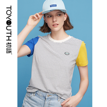 Toyouth Contrast Sleeve Summer Cotton T-shirt for Female Ulzzang Striped T Shirts Patchwork Women Tops O-Neck Tee Shirt Femme
