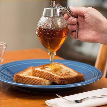 Hot Creative Home Acrylic Honey Pot Push Pure Natural Honey Spice Jar Biscuit Bread honey spoon Jam Bottle honey dipper фото