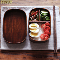 Natural Wood Lunch Boxs With Bag Japanese Square Boxes Handmade Wooden Fruit Sushi Box Portable Picnic