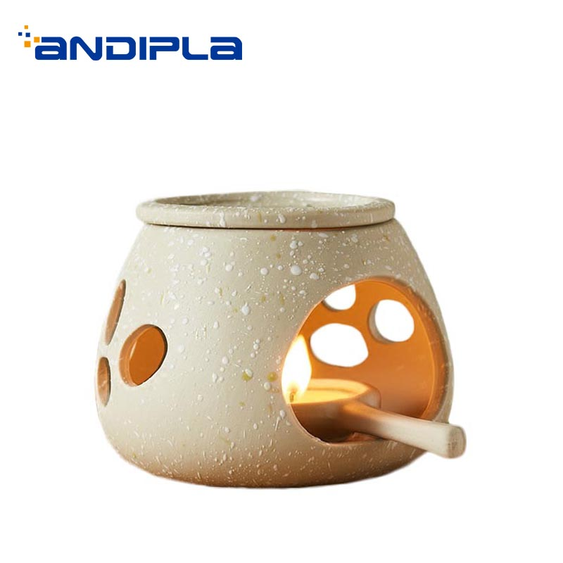 Brief Ceramic Coarse Pottery Incense Burner Household Decoration Yoga Essential Oil Candle Fragrant Powder Art Stove Sent Friend image