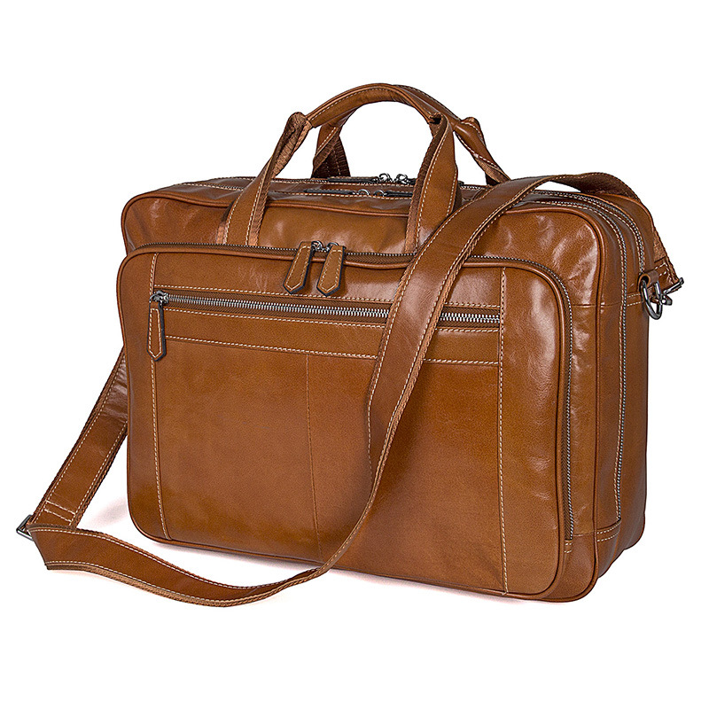 Nesitu Big Large Brown Genuine Leather Men Messenger Bags Business Travel Bags 14'' 15.6'' Laptop Male Briefcase Portfolio M7380