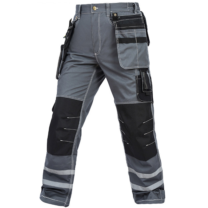 Work Pants Men Wear-resistant Multi pockets Working trousers Reflective Strap Worker Mechanic Factory Functional Cargo Pants