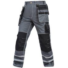 Work Pants Men Wear-resistant Multi pockets Working trousers Reflective Strap Worker Mechanic Factory Functional Cargo Pants(China)