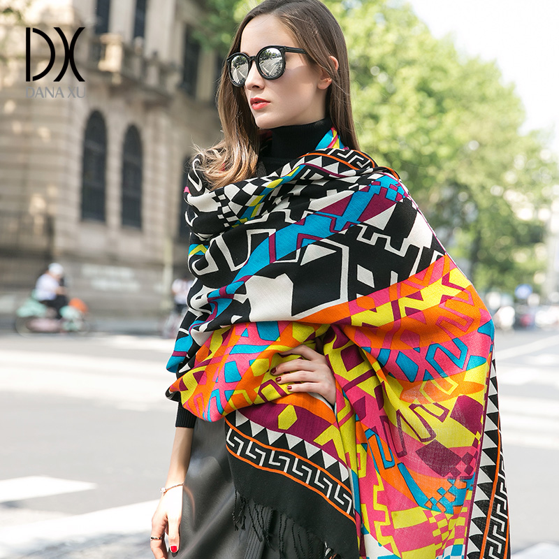 Warm Scarf Fashion Scarves and Shawls Women Cape Muslim Hijab Plaid Blanket Scarf Wool Bandana Poncho