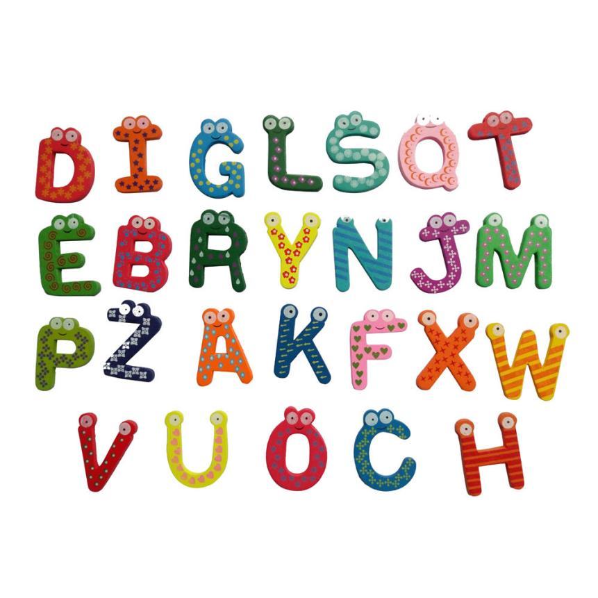 Новый Лидер продаж 26 букв деревянный мультфильм магнит на холодильник Малыш Детские развивающие игрушки подарочные доставка января 16