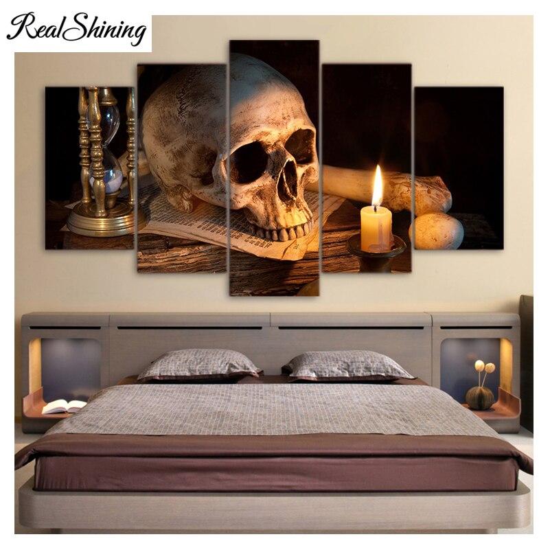 REALSHINING 5pcs/set, Skull Burning Candle,5D Diy Diamond Embroidery,Full Square Mosaic Diamond Painting Cross Stith FS2057
