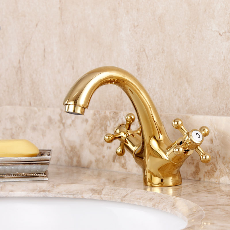 2016 Torneira Para Banheiro Bathroom Sink Faucet Fashion Copper Gold Counter Basin Hot And Cold Faucet Antique Plated Double