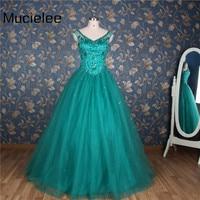 Mucielee Vestidos De 15 Anos Debutante Gown Sweet 16 Ball Gowns Teal Quinceanera Dresses Cheap Cinderella Puffy 15 Year Dress