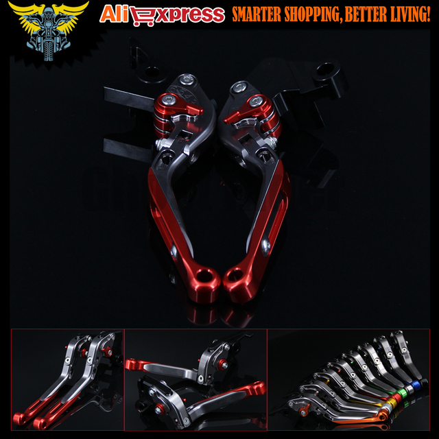 CNC Adjustable Folding Extendable 8 Colors Motorbike Motorcycle Red Brake Clutch Levers For Ducati Diavel