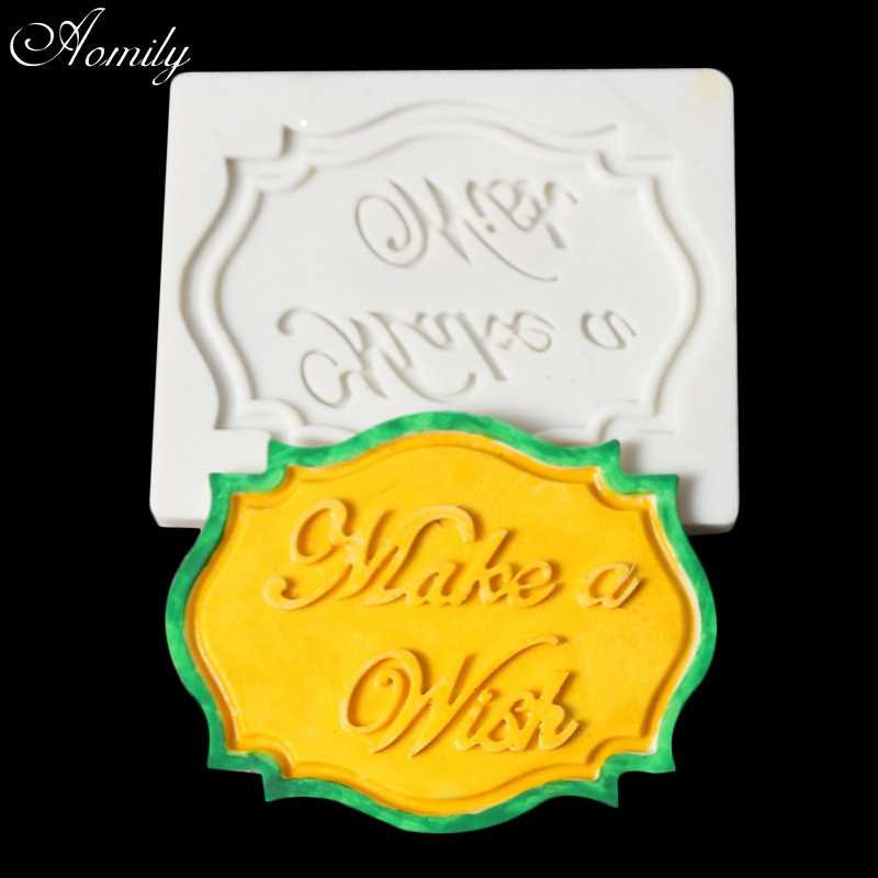 Aomily Make a Wish Word Silicone Mold DIY Cake Fondant Decorating Tools Homemade Cookies Chocolate Mould Bakeware Baking Tools