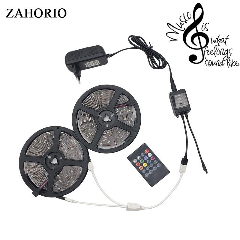 5M 10M RGB Music LED Strip 5050 SMD LED Light Tape Flexible Ribbon Waterproof IR Remote Controller DC12V Power Adapter Full set