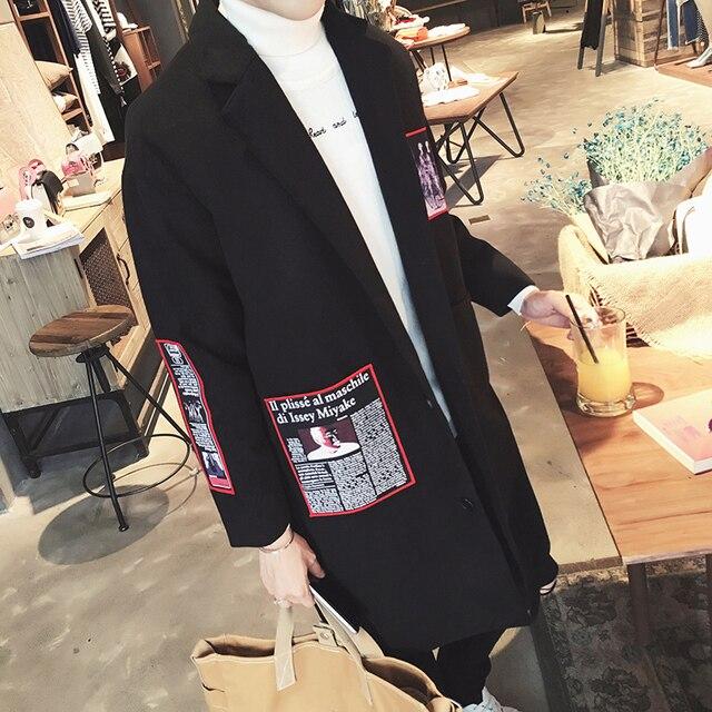 De los nuevos hombres de moda de invierno medio-largo masculino trench de lana de la personalidad más tamaño prendas de vestir exteriores el envío libre