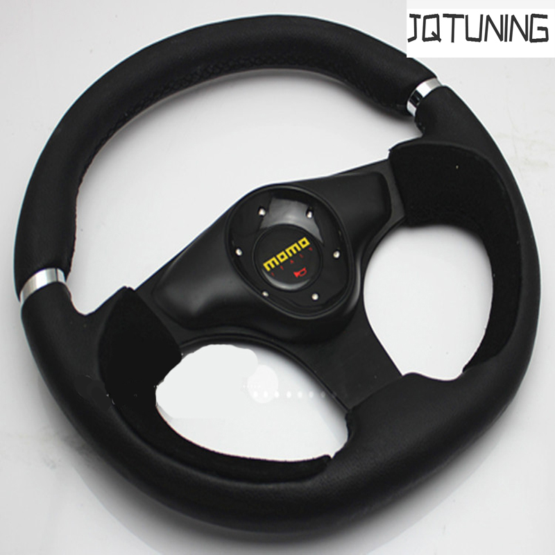 JQTUNING-MOMO Racing Brand New Genuine leather Steering Wheel 13 Inch 320MM Size 320mm steering wheel 630mm rack