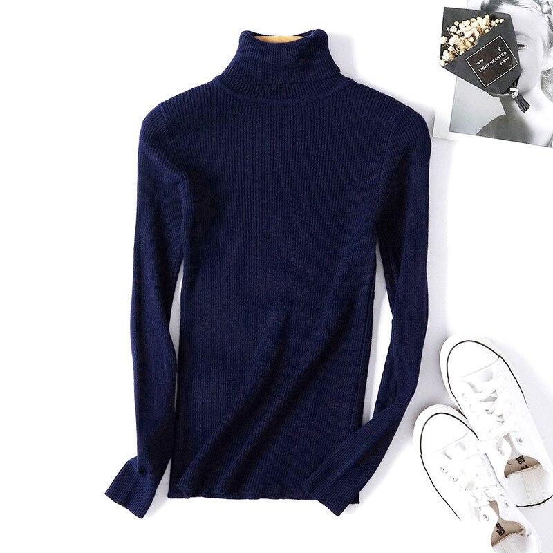 Winter autumn turtleneck Black Sweater Women Skinny Elastic Knitted Soft Pullover Sweater female 19 korean fashion Pullovers 8