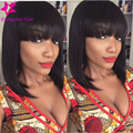 NEW Bob Cut Wigs Unprocessed Virgin Brazilian Glueless Lace Front Wig With Bangs Short Human Hair Bob Wigs For Black Women