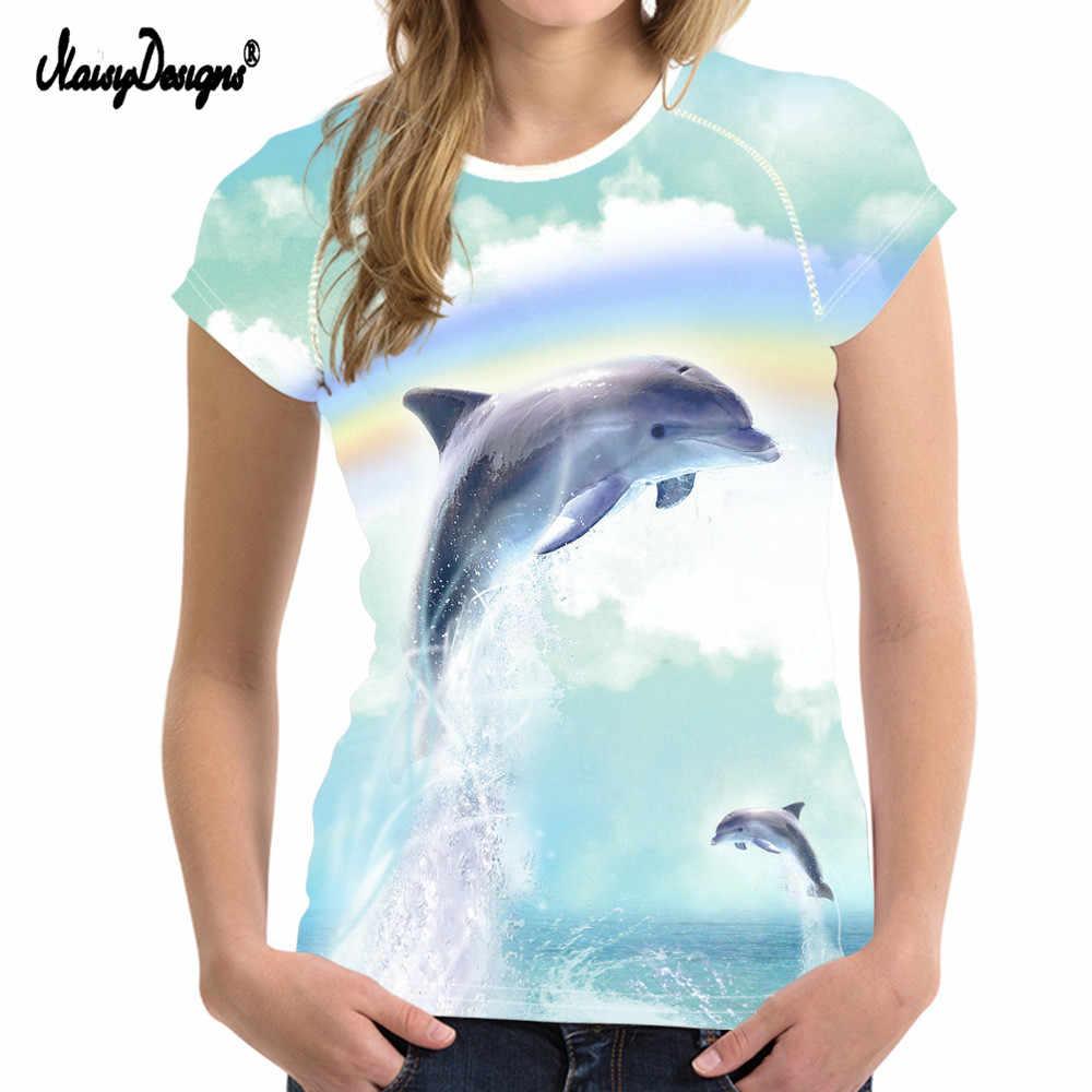 Бесшумный дизайн печать животных Дельфин Футболка классический короткий рукав женская летняя футболка лучший друг футболки смешные женские футболки