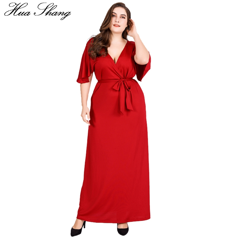 Red Party <font><b>Dresses</b></font> For Fat <font><b>Women</b></font> Summer Deep V Neck Ruffles Short Sleeve <font><b>Sexy</b></font> Long <font><b>Dress</b></font> 4xl <font><b>5xl</b></font> <font><b>6xl</b></font> <font><b>Plus</b></font> <font><b>Size</b></font> <font><b>Women</b></font> <font><b>Clothing</b></font> image