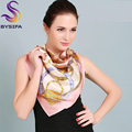 2015 New Design Silk Crepe Satin Square Scarves Printed Fashion Pink Women Large Kerchief Silk Scarf Autumn Winter Chain Scarves