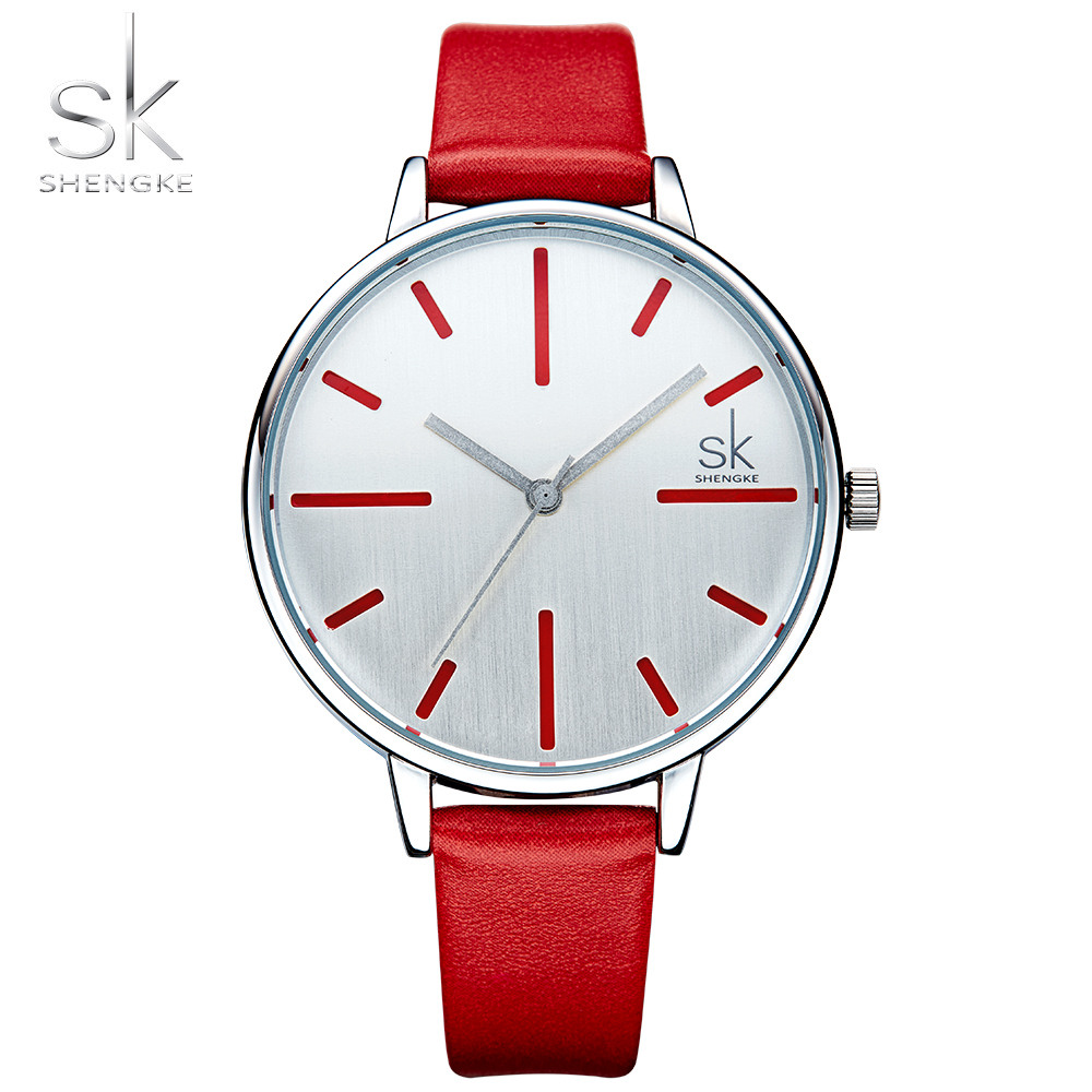 Shengke Luxury Quartz Women Watches Brand Fashion Leather Ladies Watch Clock Relogio Feminino for Girl Female Wristwatches women men quartz silver watches onlyou brand luxury ladies dress watch steel wristwatches male female watch date clock 8877