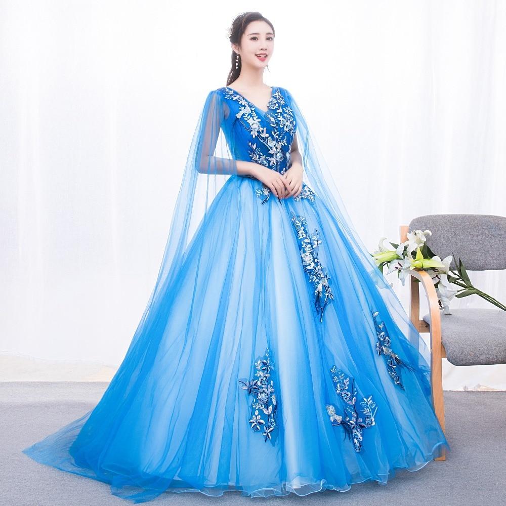 freeship shoulder veil long gown princess cosplay wonderland medieval dress Renaissance gown queen Victoria Belle Ball