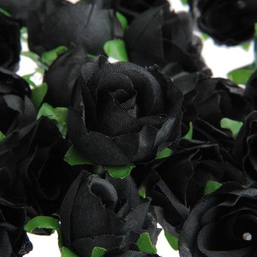 TFBC 100 x Tete Fleur Artificielle Roses Deco DIY Mariage Bapteme NOIR